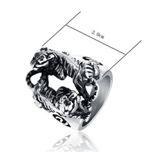 Punk Mens Boys Stainless Steel Double Tiger Play Fight Classical Design Ring Men Fashion Jewelry