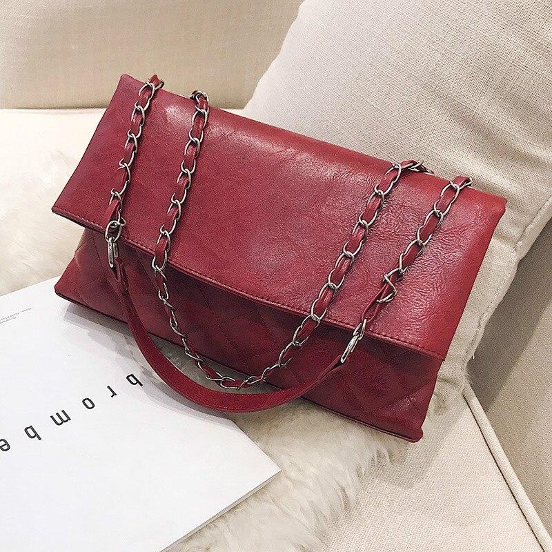European and American fashion tide bag female shoulder bag simple wild Messenger bag Lingge small fragrance chain handbag 2