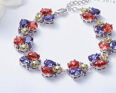 UXN98 Crystal Bracelet 925 Silver Zircon Lady Hand Jewelry Wedding Birthday Gift