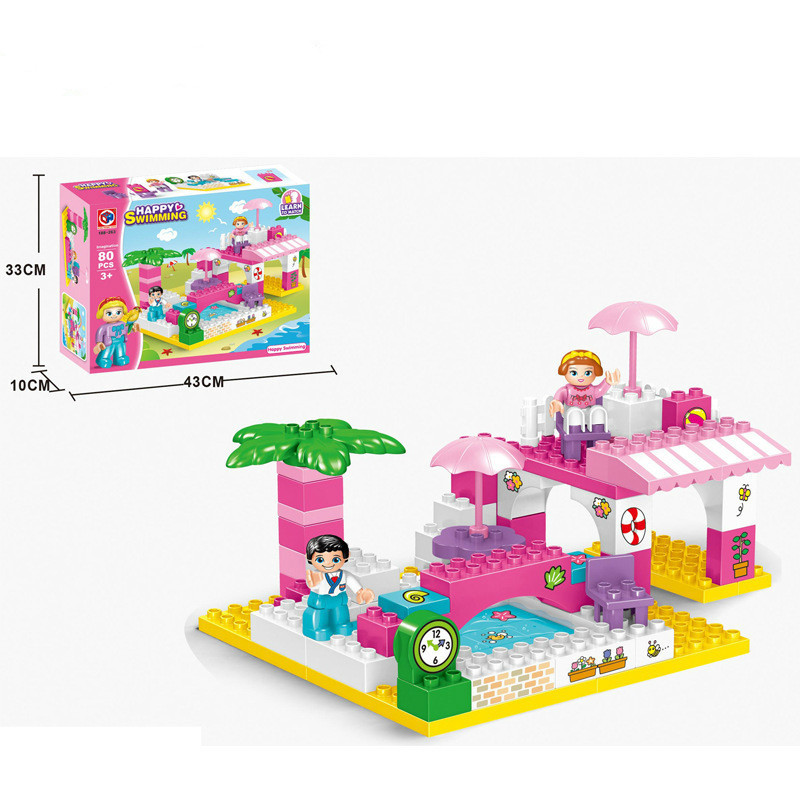 Friends Building Block Toys 80pcs Swimming Pool Educational Brick Toys Figure Gift for Girls Series Compatible Duploe Baby Toys