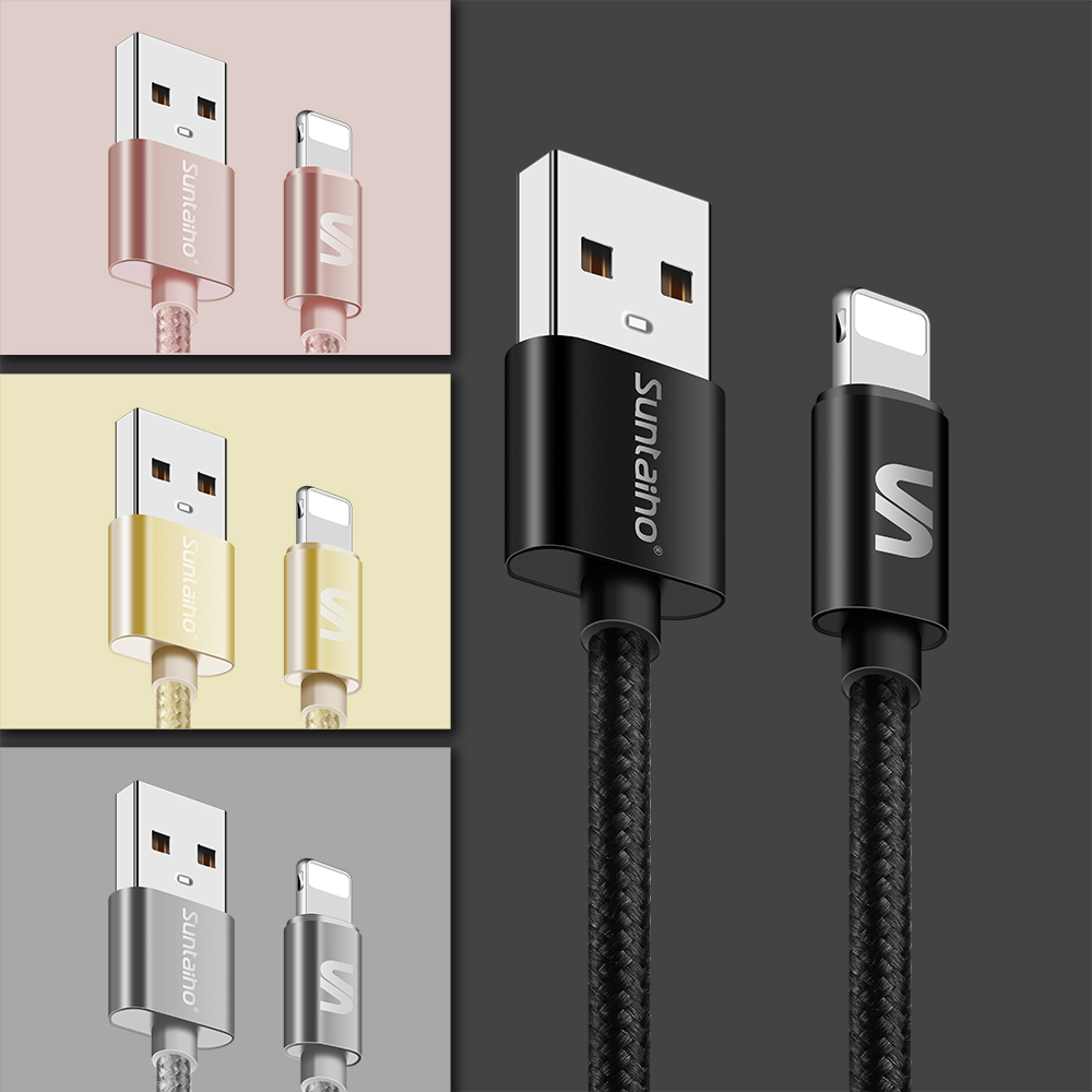 suntaiho usb type a cable with nylon 2.1a for lighting fast charging for iphone models