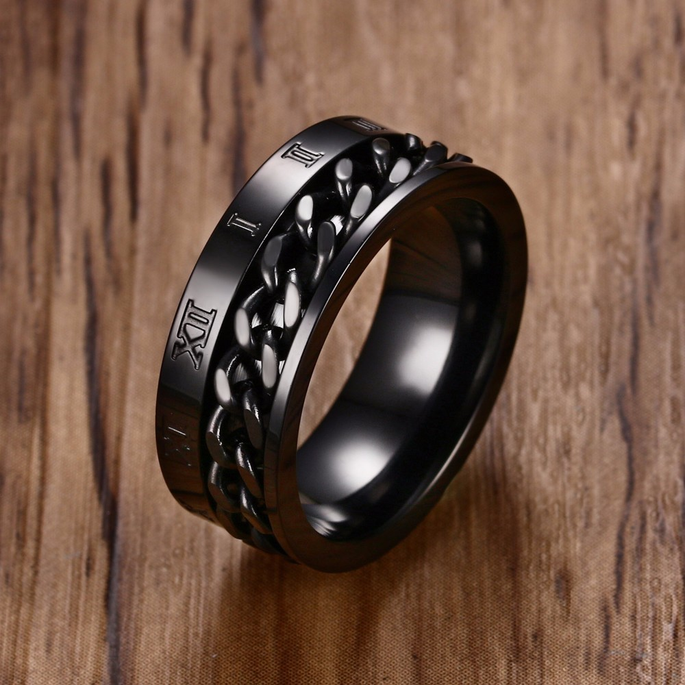 Men's 8MM Stainless Steel Spinner Chain Worry Ring Roman Number Meditation Band Gold Black Male Jewelry Anel Aneis