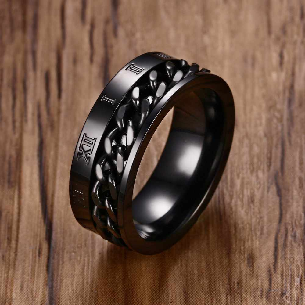 Men's 8MM Stainless Steel Spinner Chain Worry Ring Roman Number Meditation Band Silver Gold Black Male Jewelry Anel Aneis