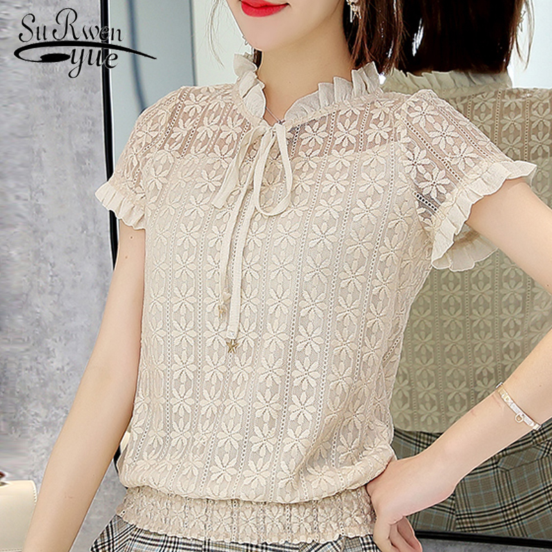 sweet Short sleeve summer women tops fashion 2019 lace women   blouse     shirt   blusas sexy hollow lace women's clothing tops 0058 30