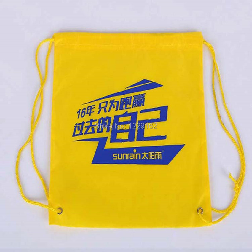 Impresión personalizada bolsa con cordón de poliéster (300 unids/lote) 30x40 cm bolsa de regalo promocional zapatos bolsa de almacenamiento mochila con cordón - 5