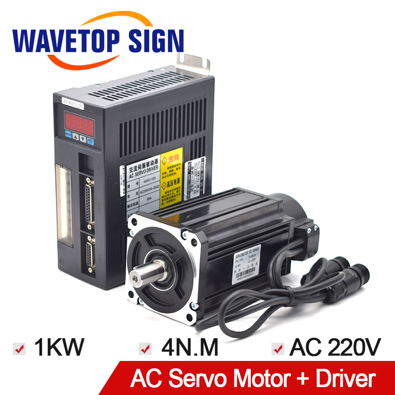 AC Servo Motor Single-Phase 90ST-M04025 1000W 220v 4 N.M AC Servo Motor + Servo Motor Driver. mi light wifi controller 4x led controller rgbw 2 4g 4 zone rf wireless touching remote control for 5050 3528 led strip