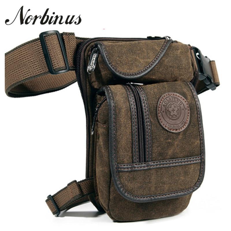 Norbinus Men Waist Pack Canvas Drop Leg Bag Belt Hip Bum Motorcycle Crossbody Bags For Men Shoulder Travel Thigh Pouch Fanny Bag