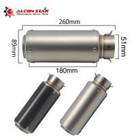 Alconstar Universal Motorcycle Exhaust Pipe Muffler Motorbike Escape SC Exhaust Muffler Racing Performance 51mm Inlet