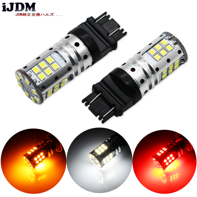 iJDM 3157 LED Bulbs P27/5W P27/7W T25 3030 32SMD Super Bright 12V Car DRL Turn Signal Back-up Parking Brake Reverse Light/CANBUS 2x 7 5w led white t20 7743 super bright car back up reverse tail light bulbs lamp