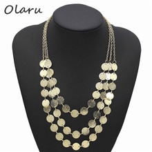 Olaru Jewelry Bohemia Style Brand Metal Wafer Multi-layer Chains Necklaces Woman 2017 New Choker Maxi Necklace Wholesale