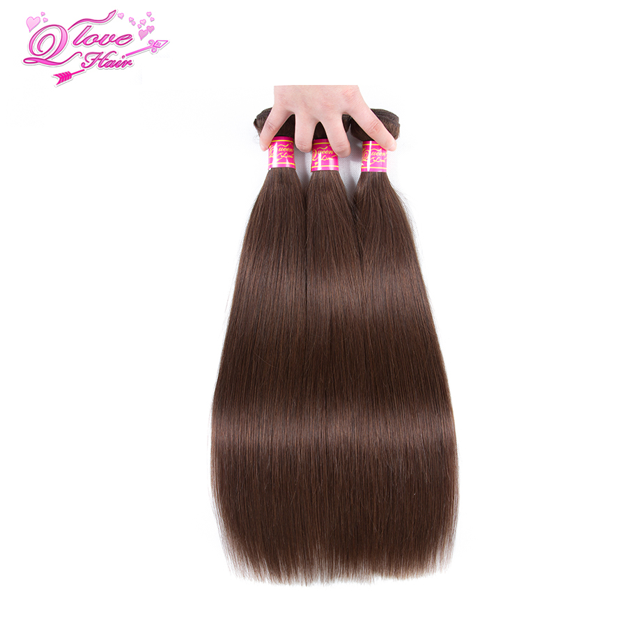 Queen Love Hair Pre-Colored Malaysian Straight Hair Color #4 100% Human Hair Extensions 3PC Non-Remy Hair Bundles