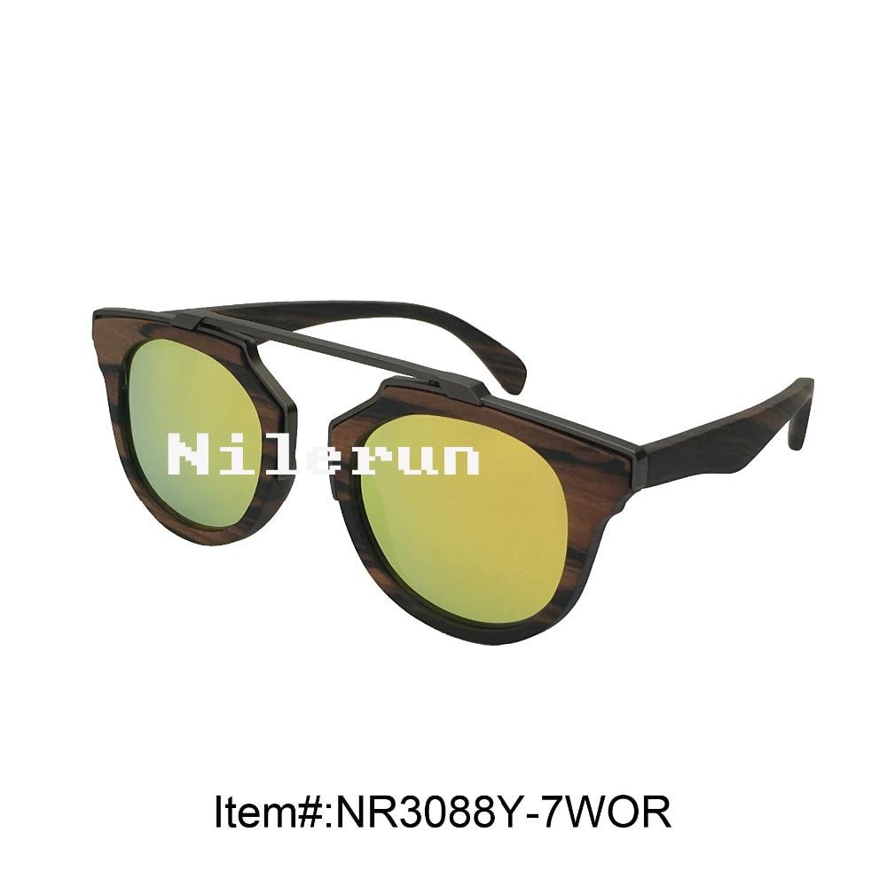 famous designer brand UV400 mirror orange lens metal wood sunglasses uv400 polarized mirror orange lens wood frame sunglasses