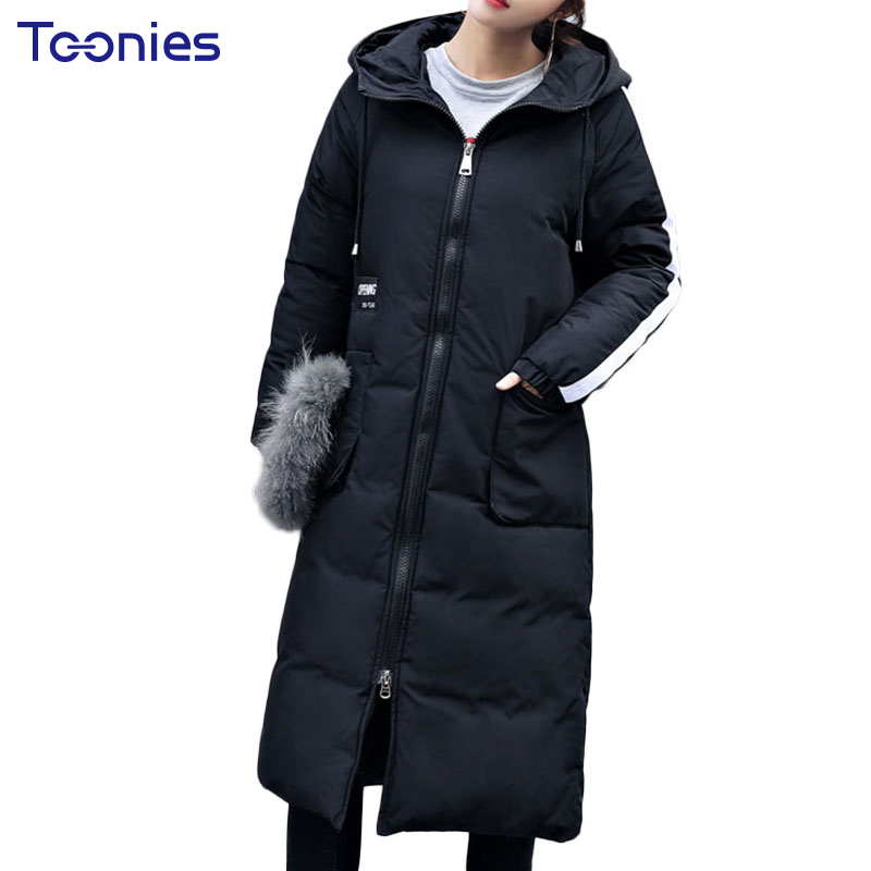 Thicken Coat Padded Parkas Long Winter Jacket Women With Hooded Plus Size 2xl Pocket Letter Print Ladies Quilted Warm Coats 2017 plus size letter print hooded sweatshirt dress