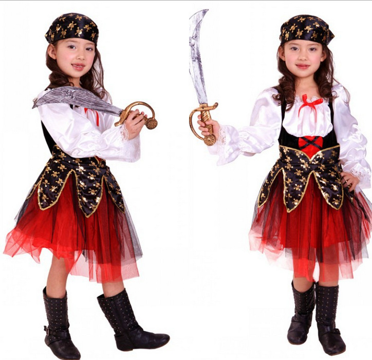Детские пират Косплэй костюм платье для Обувь для девочек вечерние фестиваль выступлений