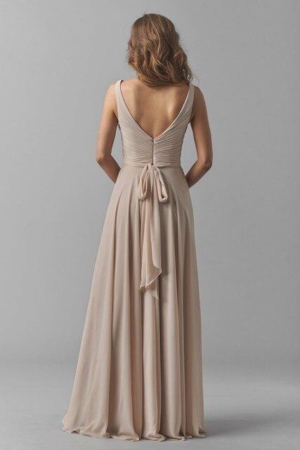 2016 Elegant Champagne Evening Dresses Simple V Neck Chiffon Women
