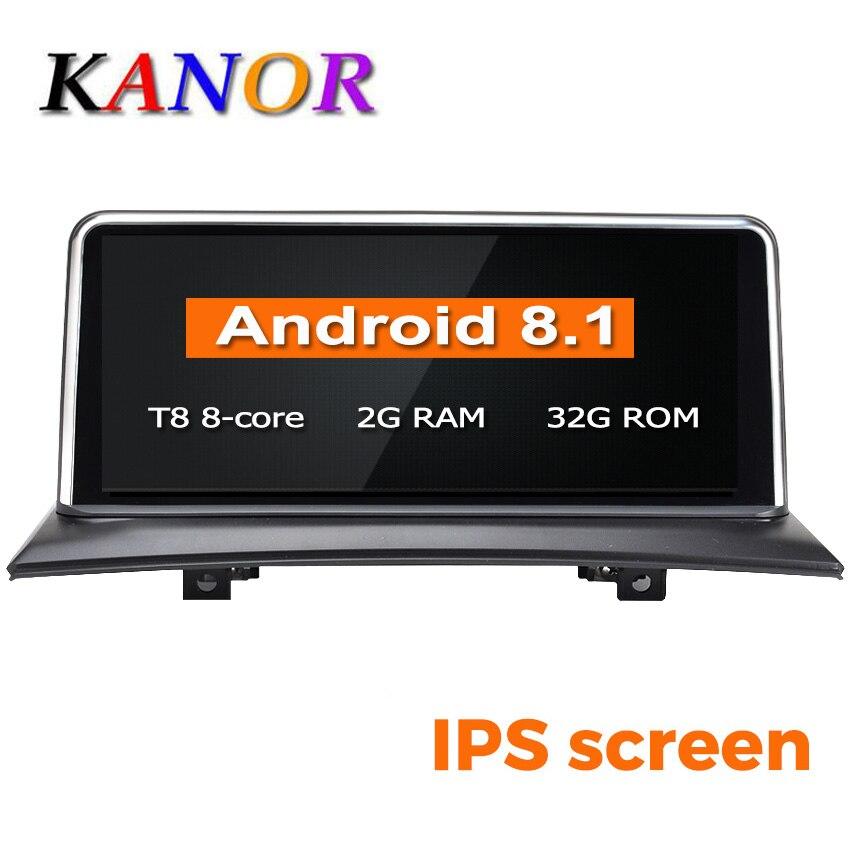 Lecteur multimédia de voiture KANOR ID6 IPS Android 8.1 navigation gps pour BMW X3 E83 2004-2009 voiture d'origine sans écran 2 GB + 32 GB WIF