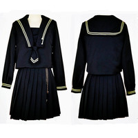 Lady School Uniform Girls Long Sleeve Embroidery Collegue Suit Top Skirt Tie Uniform Pleated Sailor Wear JK Uniform D 0190