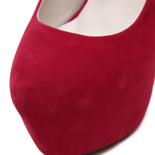 New Women Platform High Heels Flock Slip-on Pumps Thin Heels Stilettos Round Toe Party Wedding Shoes Super High Heeled 16cm Y120