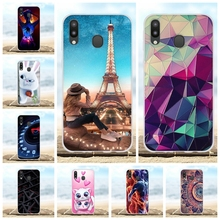For Samsung Galaxy M20 Case Soft TPU Silicone SM-M205F Cover Paris Patterned Coque