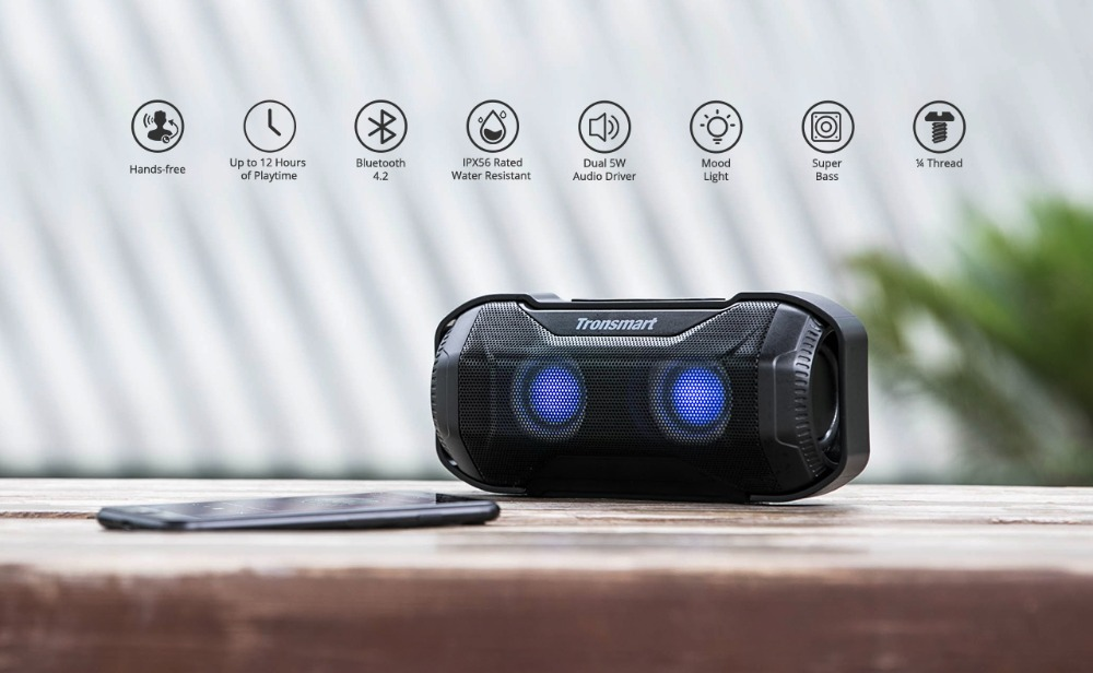 Tronsmart Blaze Bluetooth Speaker 10W IPX56 Waterproof Portable Speaker with Superior Bass & LED Lights for bicycle sports_08