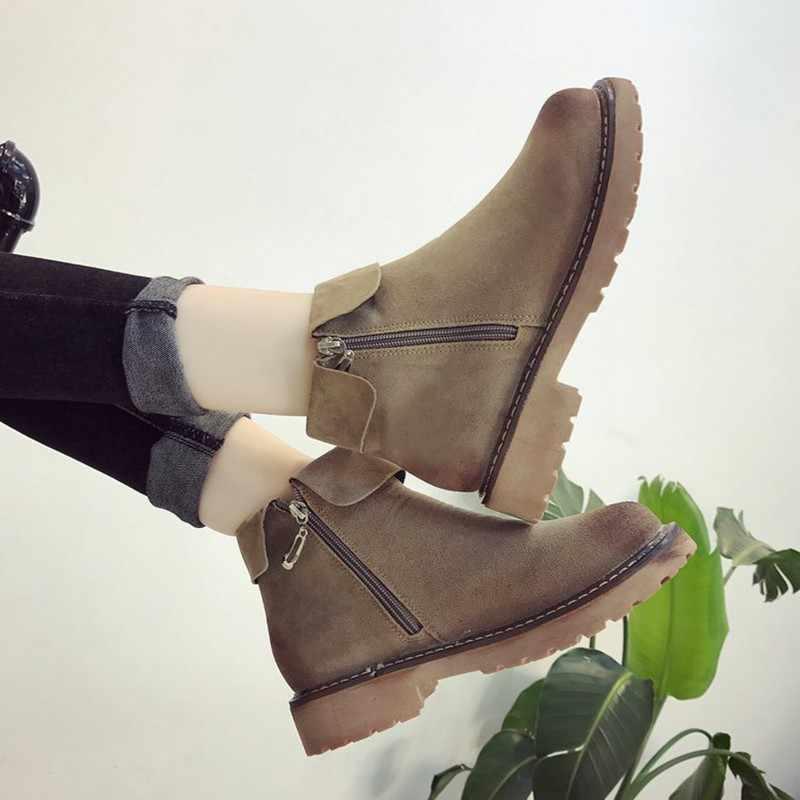 COOTELILI Yan Fermuar yarım çizmeler Kadınlar Için Kış Ayakkabı Moda Kauçuk Taban Platformu Çizmeler Bayanlar Ayakkabı Siyah Kahverengi 35-39