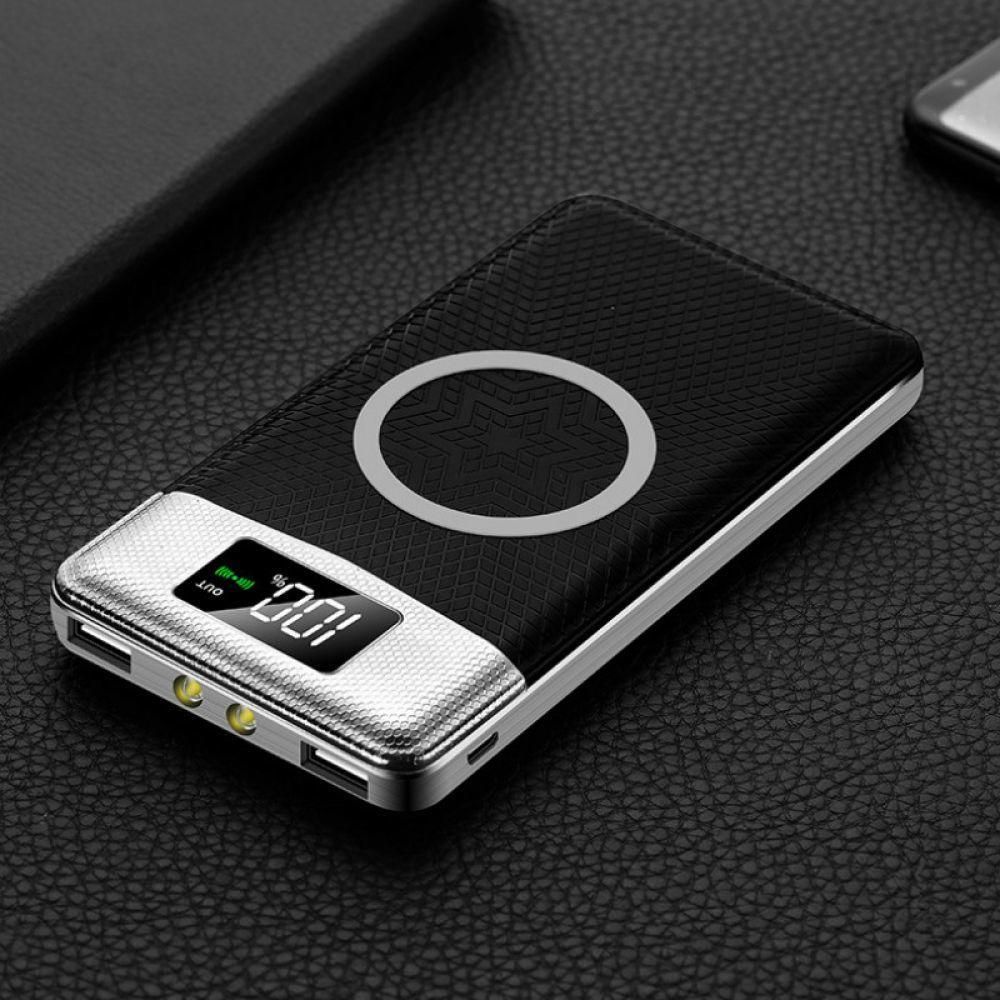 30000mAh Wireless Power Bank Dual USB Power Bank Wireless Charger Powerbank Bateria External Portable with LED Light