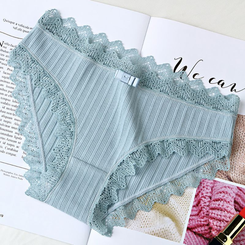 Women\'s Cotton   Panties   Female Solid Color Ribbed Breathable Briefs Sexy Lace Edge Underwear Plus Size New