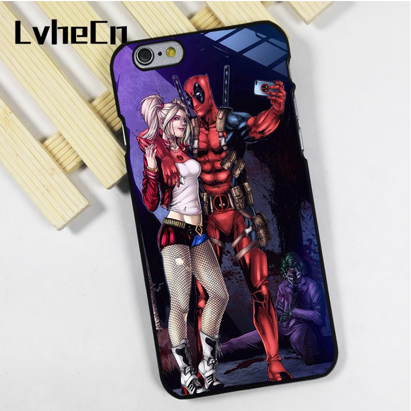 LvheCn phone case cover fit for iPhone 4 4s 5 5s 5c SE 6 6s 7 8 plus X ipod touch 4 5 6 Deadpool Harley Quinn Selfie Joker