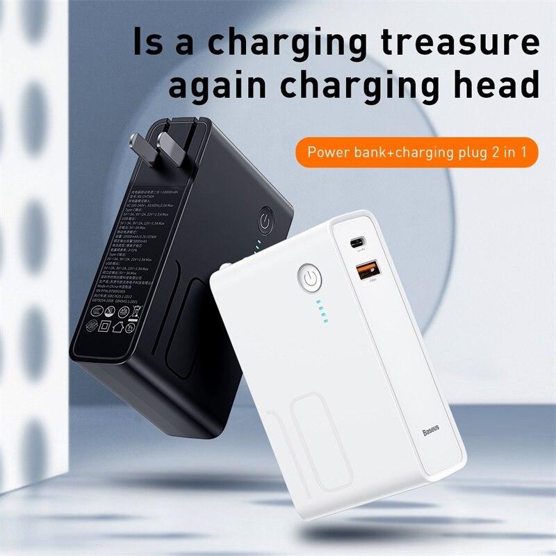 Baseus 10000 мАч USB зарядное устройство Внешний аккумулятор USB C PD Быстрая быстрая зарядка 3,0 зарядное устройство для iPhone 11 портативное Внешнее зар...