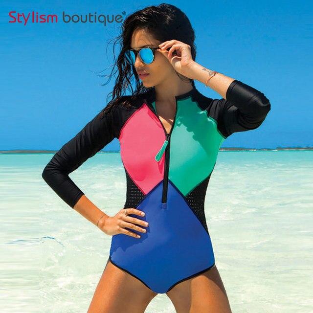 929f0f0c56b 2018 Black Mesh Patchwork Rash Guard Surfing Swimwear Women Long Sleeve  Rashguard Swimming Suit for Women One Piece Swimsuit