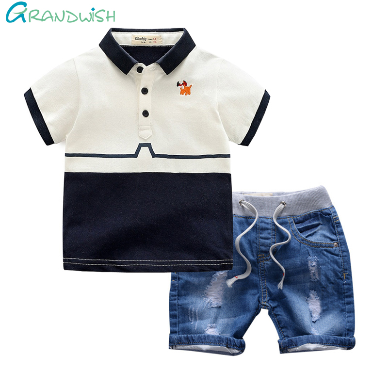 Grandwish Boy's Polo Shirt + Denim Shorts Set Children's Embroidered Cotton Top Summer Kids Hole Casual Shorts 3T-8T, JC008 zengli mens denim cargo shorts jeans casual vintage blue pockets biker jeans summer knee length denim shorts 40 42 44 46 48