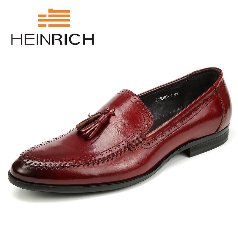 HEINRICH Men Dress Shoes Comfortable Foot Tassel Business Gentleman Genuine Leisure Leather Men'S Shoes Nette Heren Schoenen