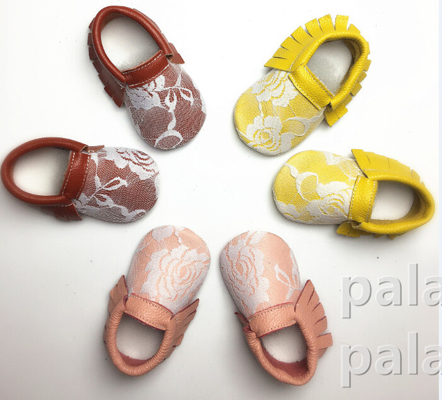 6pairs/lot  new Fashion Genuine leather White Lace  Baby Shoes cute First Walkers Newborn Soft  Infants Girls Princess Shoes