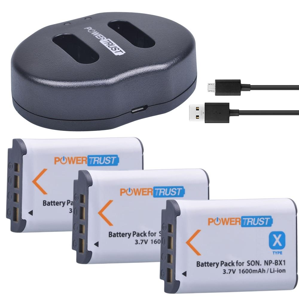 3 unids 1600 mAh NP-BX1 NP BX1 batería + cargador dual del USB para Sony DSC-RX100 DSC-WX500 HX300 WX300 HDR AS100v AS200V AS15 AS30V AS300