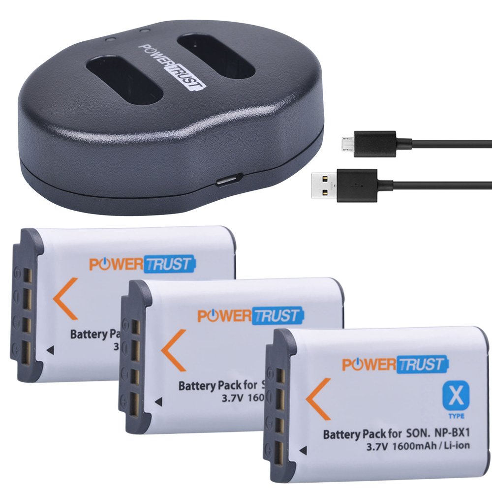 3Pcs 1600mAh NP-BX1 NP BX1 <font><b>Battery</b></font> +Dual USB Charger for <font><b>Sony</b></font> DSC-RX100 DSC-WX500 HX300 WX300 <font><b>HDR</b></font> AS100v AS200V AS15 AS30V <font><b>AS300</b></font> image