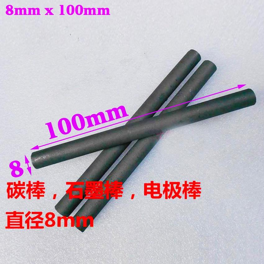 10pcs 8mm 100mm / 10cm Carbon rod Electrode graphite rod Graphite Electrodes Crucible stirring rod Graphite rod for spot welding 5 10 355 mm flat head carbon rod copper coated for arc air gouging 50pcs