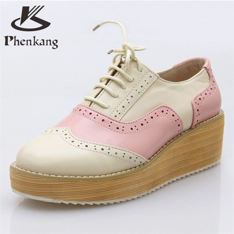 ФОТО Cow leather woman US size 9 designer vintage flat shoes round toe handmade platform pink beige oxford shoes for women fur