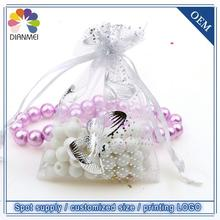 Wholesale 100pcs/lot 7x9cm White Butterfly Christmas Wedding Organza Voile Gift Packaging Bags & Pouches Tulle Candy Packages