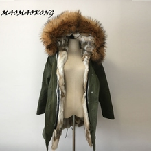 2017 brand real rabbit fur coat long winter jacket women detachable raccoon fur collar thick warm fur parka top quality