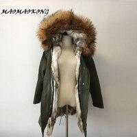 2017 thương hiệu bất rabbit fur coat dài winter jacket áo nữ có thể tháo rời gấu trúc cổ áo lông thú lông ấm dày lông parka top chất lượng