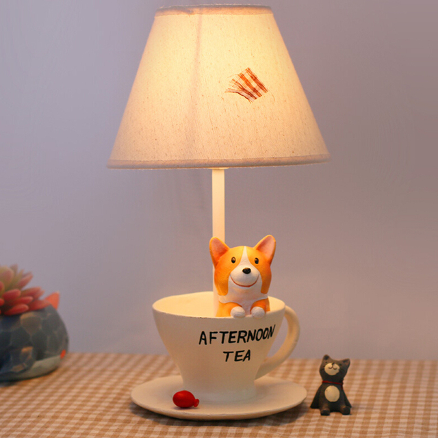 Lovely Puppy Children's Table Lamp E14 110V-220V Switch Button Desk Lamps Fashion Birthday Gifts Kids Table Led Lamp