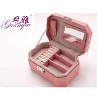 guanya Creative new style double pu leather jewelery box Crocodile pattern Portable octagonal wedding organizer box
