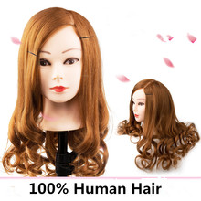 Cheap 100% Natural Human Hair Training Mannequin Head Cosmetology Hairdressing Mannequin heads Makeup with Long Hair(China)