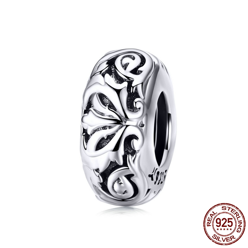 Lily flower metal beads 925 sterling silver fit original bangle charm women bracelet & necklace making jewelry DIY(China)