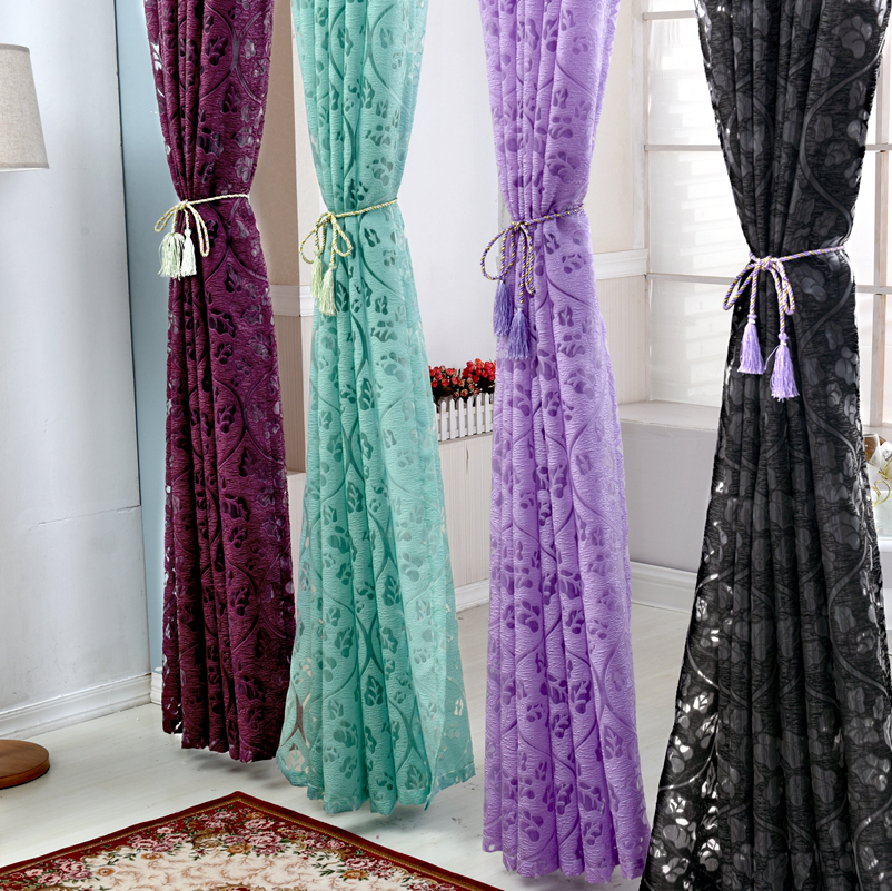... Floral Colorful Curtains For Window Curtain Panel Semi Blackout Kitchen  Curtains Purple Custom Window Curtains