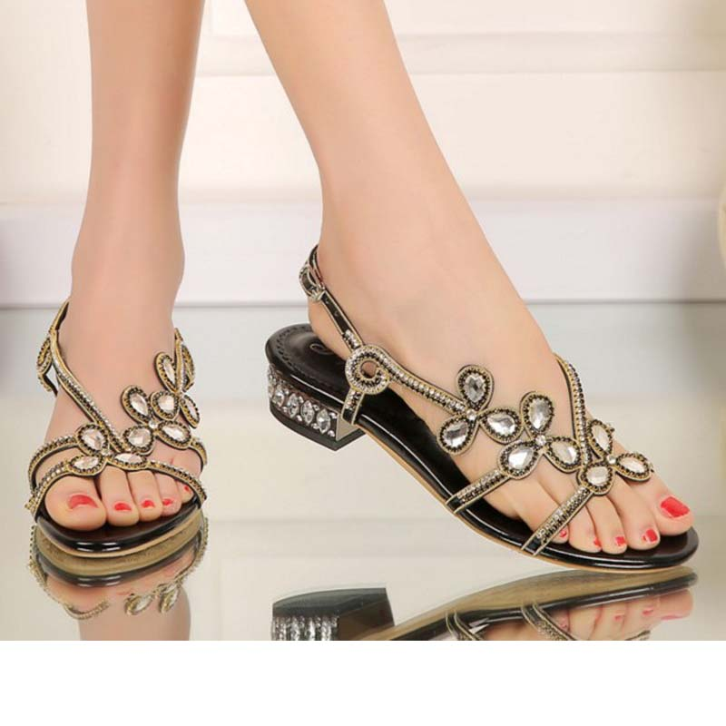 ФОТО big size 34-44 women gladiator rhinestone flowers flat low heel sandals rome female summer comfortable crystal casual sandalias