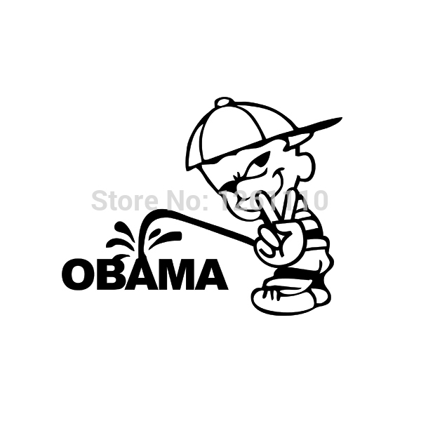 Hotmeini 16x12 5cm funny usa bad boy v victory sign pee piss on anti obama jdm vinyl decal car sticker for truck black sliver in car stickers from