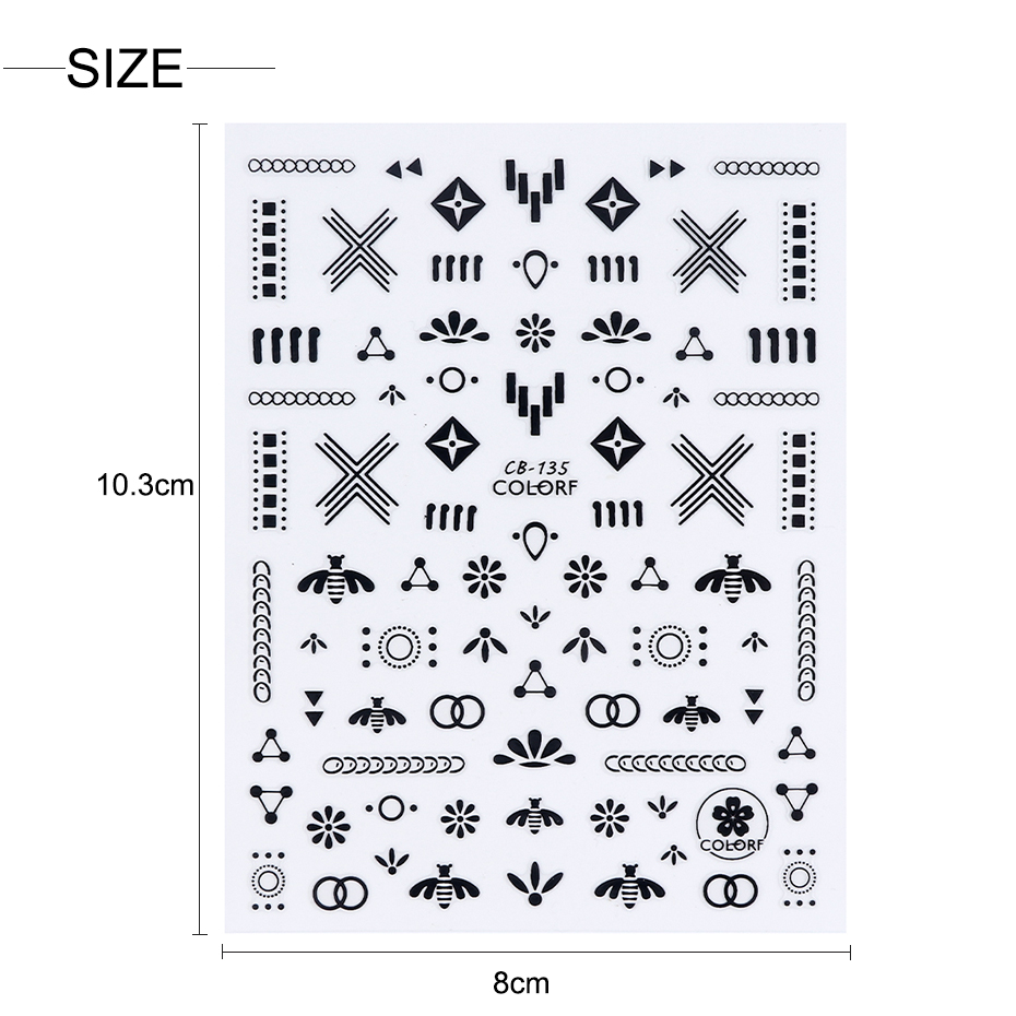 Image 5 - 3D Stars Flower Decals Stickers for Nail Adhesive Wraps Black White Letter Nail Art Slider 3D Accessories Decoration CHCB133 141-in Stickers & Decals from Beauty & Health