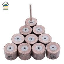 10PC מיני שוחקים כלים דש גלגל מלטש נייר זכוכית שחיקה עבור Dremel רוטרי נייר ליטוש לעיבוד עץ 80 600 חצץ