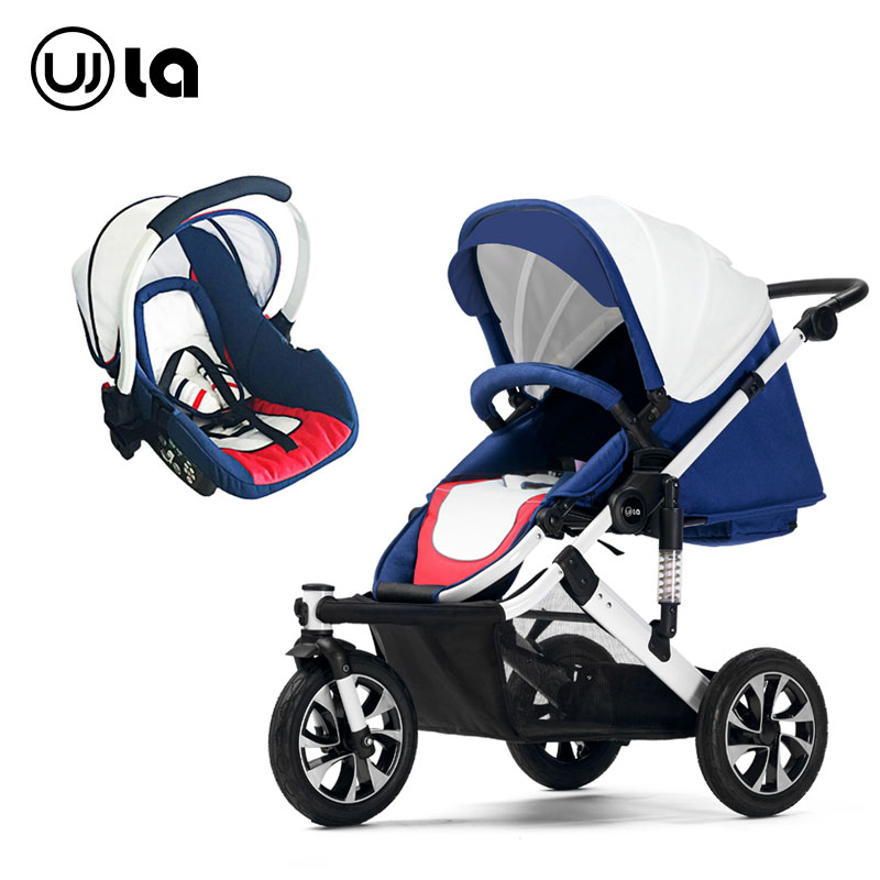 3 in 1 Baby stroller three wheel trolley high landscape can sit and lying baby stroller can be turned to light folding folding